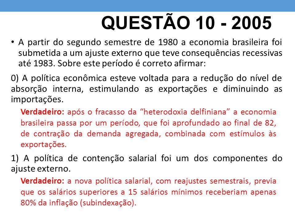QUESTÃO 10 - 2005 A partir do segundo semestre de 1980 a economia brasileira foi submetida a um ajuste externo que teve consequências recessivas até 1