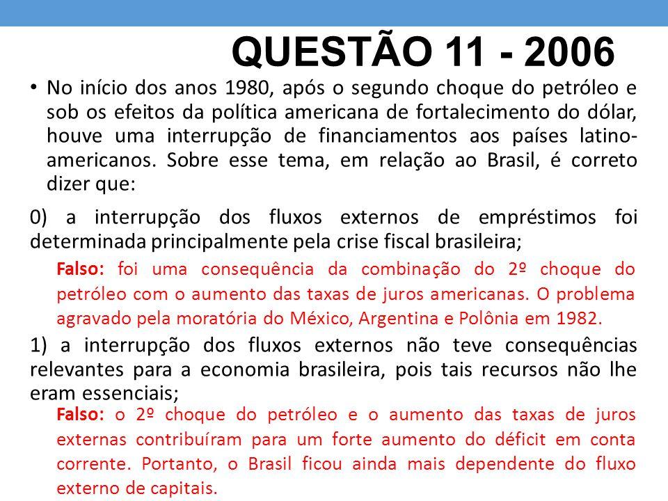 QUESTÃO 11 - 2006 No início dos anos 1980, após o segundo choque do petróleo e sob os efeitos da política americana de fortalecimento do dólar, houve