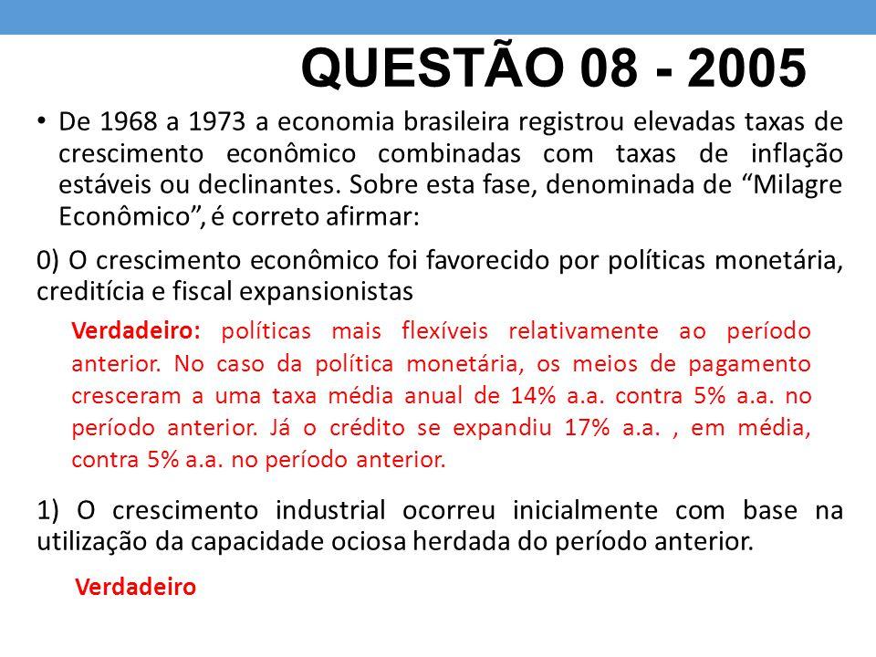 QUESTÃO 9 - 2009 Com relação ao ajuste do balanço de pagamentos, ocorrido na primeira metade da década de 1980, pode-se afirmar que: 0) um dos seus elementos centrais foi o estímulo às exportações, por meio da adoção de uma política de desvalorização cambial; 1) como resultado de sua aplicação, a economia brasileira voltou a apresentar taxas de crescimento acima de 7% ao ano, entre 1983 e 1985; Verdadeiro: a maxidesvalorização de 30% em 1983 contribuiu para a expansão das exportações e contração das importações.