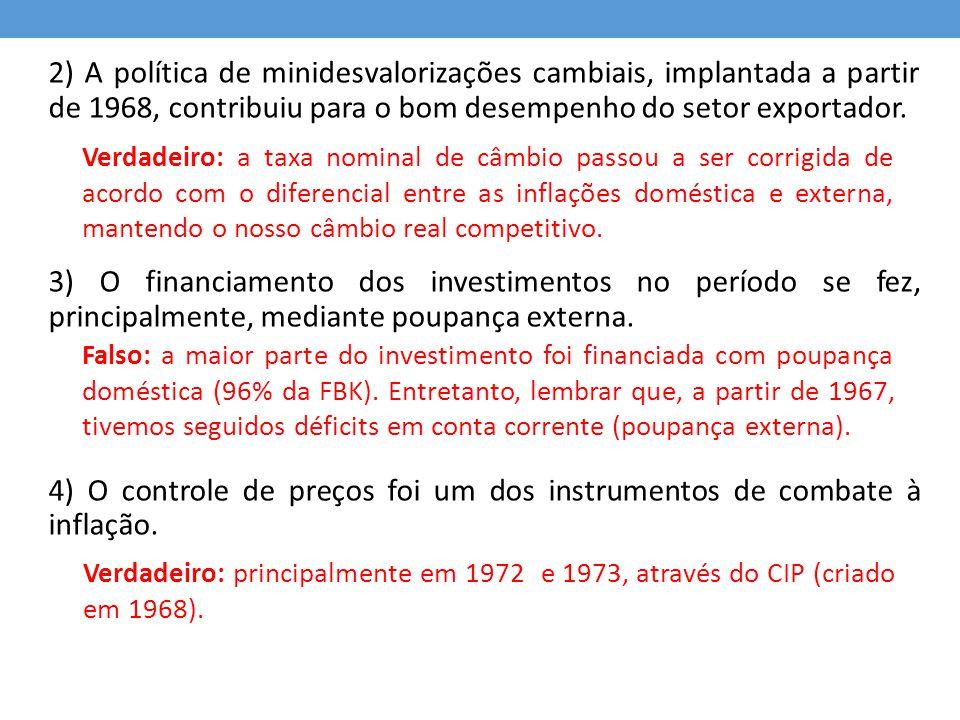 QUESTÃO 7 - 2009 Podem ser associados ao período conhecido como milagre econômico brasileiro (1968-1973): 0) a adoção do sistema de minidesvalorizações cambiais; 1) o aumento do grau de capacidade ociosa da economia ao longo do período, fruto do crescimento dos investimentos externos diretos; Verdadeiro Falso: prova disso é a pressão sobre a inflação (lembrar dos controles de preços) durante o final de 1972 e todo o ano de 1973.