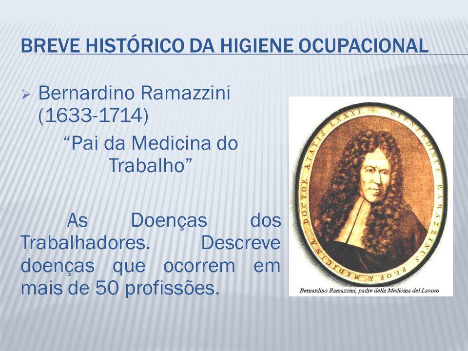 """BREVE HISTÓRICO DA HIGIENE OCUPACIONAL  Bernardino Ramazzini (1633-1714) """"Pai da Medicina do Trabalho"""" As Doenças dos Trabalhadores. Descreve doenças"""