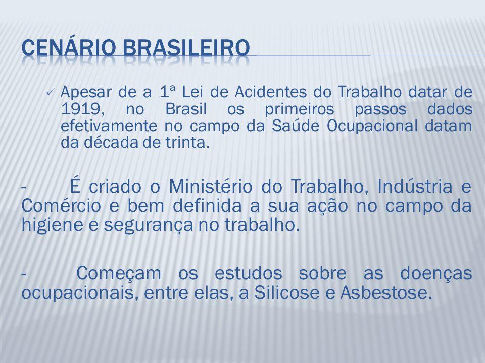 Apesar de a 1ª Lei de Acidentes do Trabalho datar de 1919, no Brasil os primeiros passos dados efetivamente no campo da Saúde Ocupacional datam da déc