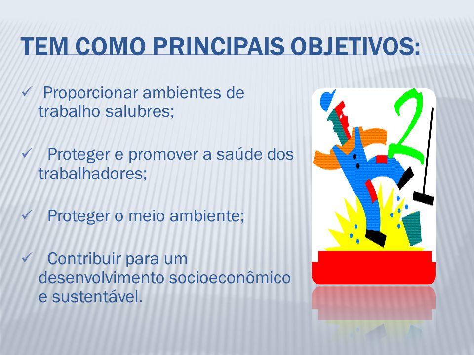 TEM COMO PRINCIPAIS OBJETIVOS: Proporcionar ambientes de trabalho salubres; Proteger e promover a saúde dos trabalhadores; Proteger o meio ambiente; C