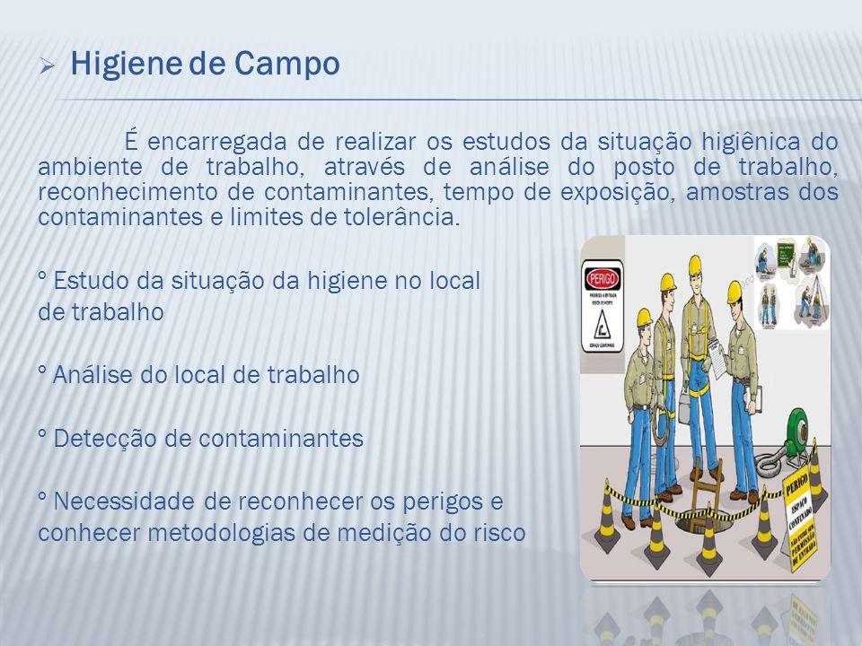  Higiene de Campo É encarregada de realizar os estudos da situação higiênica do ambiente de trabalho, através de análise do posto de trabalho, reconh