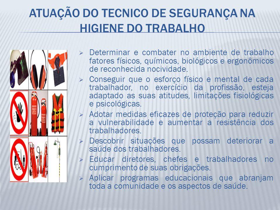 ATUAÇÃO DO TECNICO DE SEGURANÇA NA HIGIENE DO TRABALHO  Determinar e combater no ambiente de trabalho fatores físicos, químicos, biológicos e ergonôm