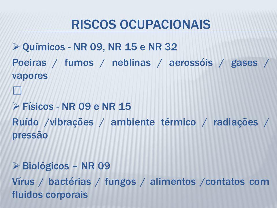 """RISCOS OCUPACIONAIS  Químicos - NR 09, NR 15 e NR 32 Poeiras / fumos / neblinas / aerossóis / gases / vapores """"  Físicos - NR 09 e NR 15 Ruído /vibr"""