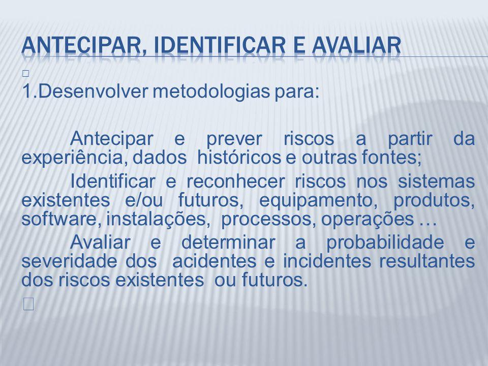 Š 1.Desenvolver metodologias para: Antecipar e prever riscos a partir da experiência, dados históricos e outras fontes; Identificar e reconhecer risco