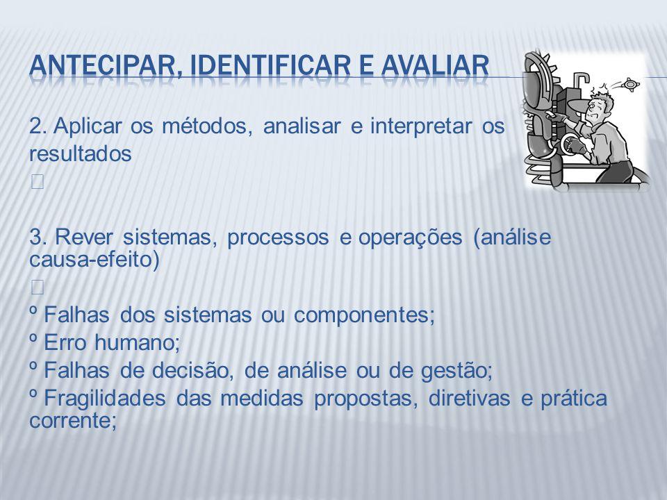 2. Aplicar os métodos, analisar e interpretar os resultados Š 3. Rever sistemas, processos e operações (análise causa-efeito) Š º Falhas dos sistemas