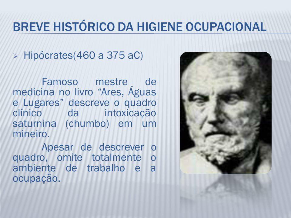"""BREVE HISTÓRICO DA HIGIENE OCUPACIONAL  Hipócrates(460 a 375 aC) Famoso mestre de medicina no livro """"Ares, Águas e Lugares"""" descreve o quadro clínico"""