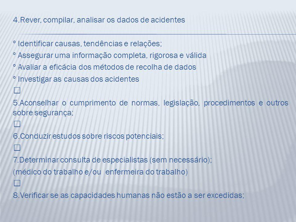 4.Rever, compilar, analisar os dados de acidentes º Identificar causas, tendências e relações; º Assegurar uma informação completa, rigorosa e válida