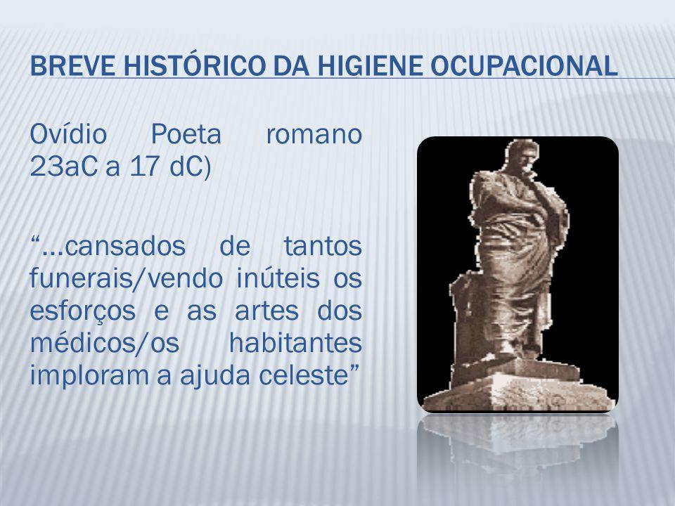 """BREVE HISTÓRICO DA HIGIENE OCUPACIONAL Ovídio Poeta romano 23aC a 17 dC) """"...cansados de tantos funerais/vendo inúteis os esforços e as artes dos médi"""