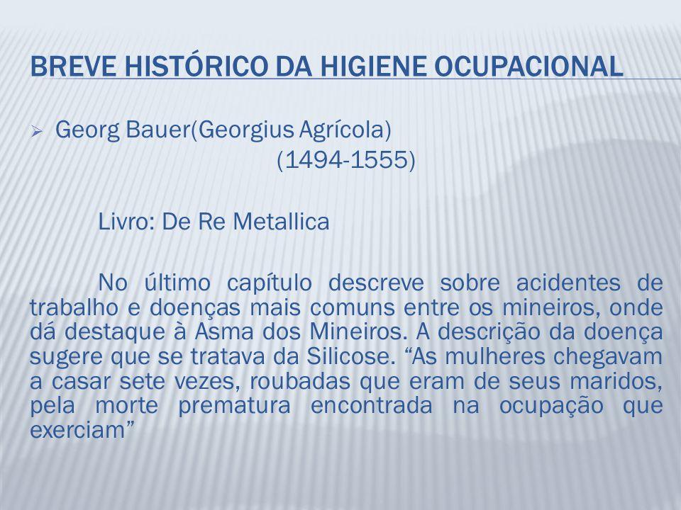 BREVE HISTÓRICO DA HIGIENE OCUPACIONAL  Georg Bauer(Georgius Agrícola) (1494-1555) Livro: De Re Metallica No último capítulo descreve sobre acidentes
