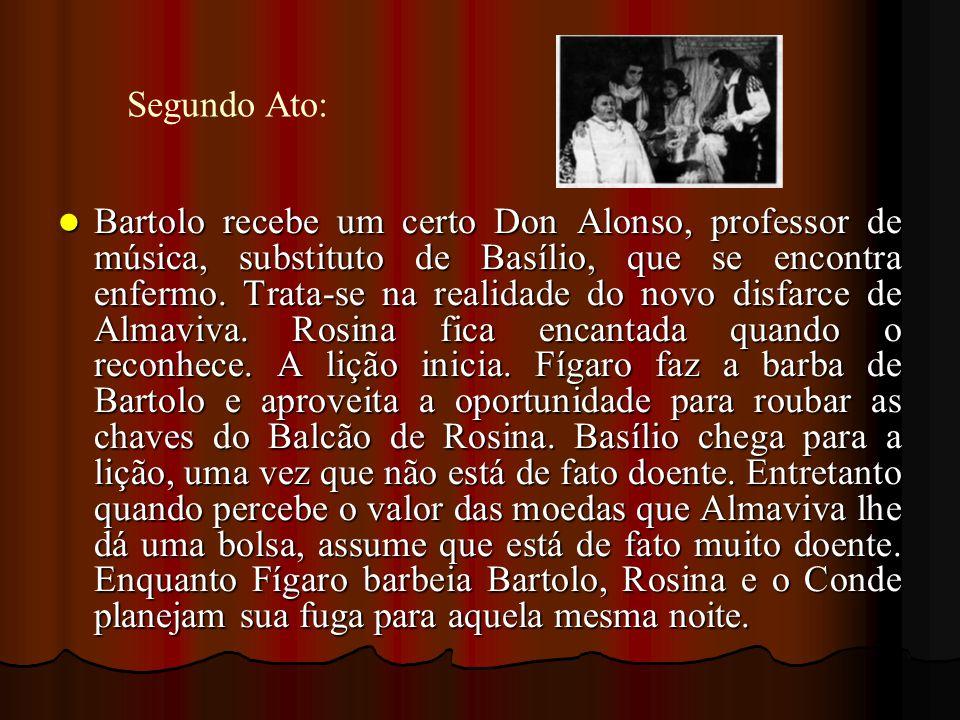 Bartolo recebe um certo Don Alonso, professor de música, substituto de Basílio, que se encontra enfermo. Trata-se na realidade do novo disfarce de Alm