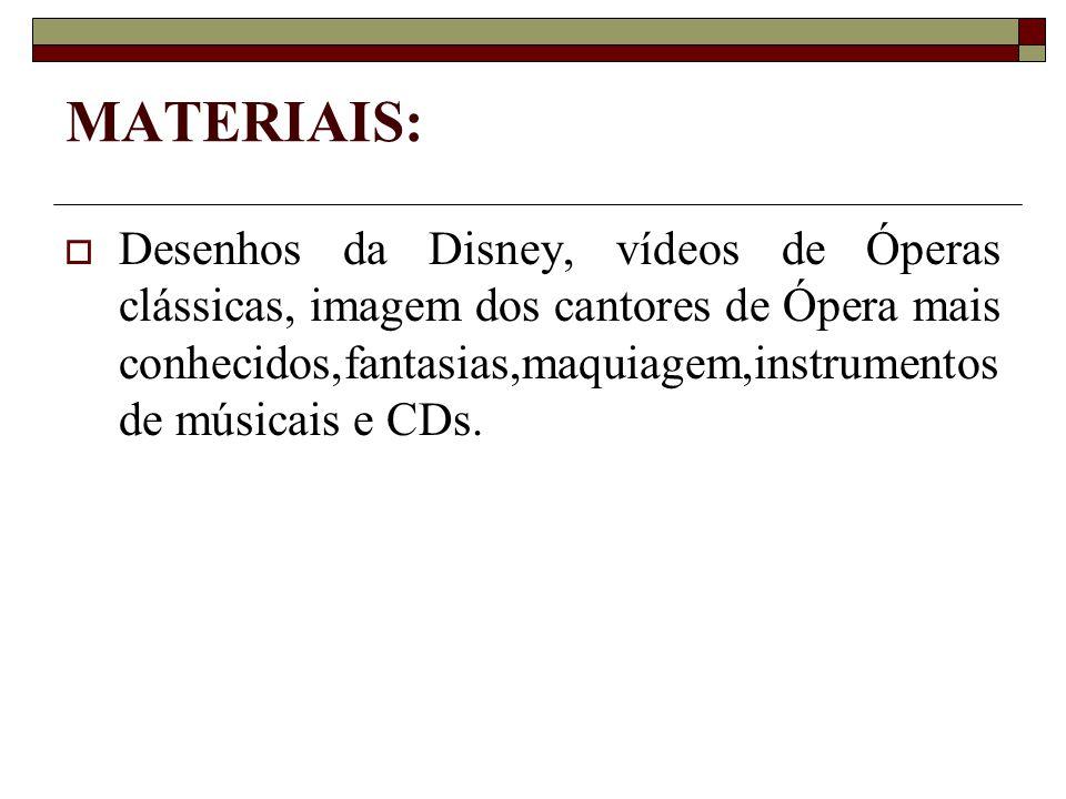 MATERIAIS:  Desenhos da Disney, vídeos de Óperas clássicas, imagem dos cantores de Ópera mais conhecidos,fantasias,maquiagem,instrumentos de músicais