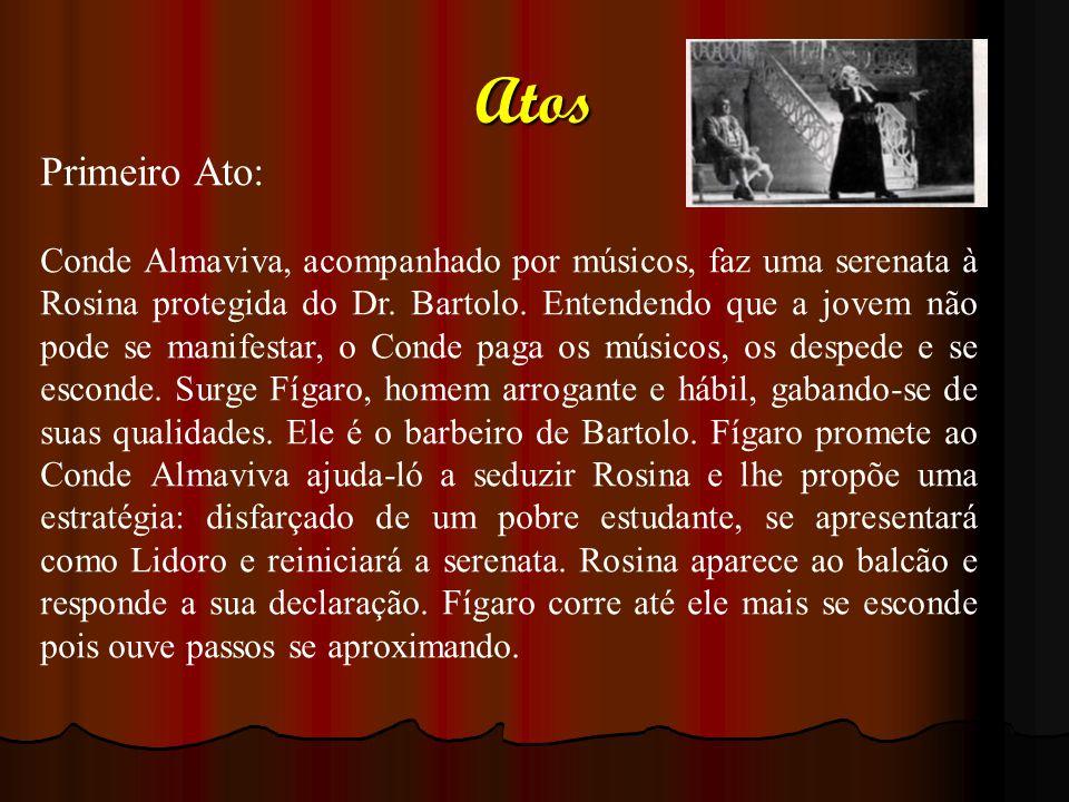 Atos Primeiro Ato: Conde Almaviva, acompanhado por músicos, faz uma serenata à Rosina protegida do Dr. Bartolo. Entendendo que a jovem não pode se man