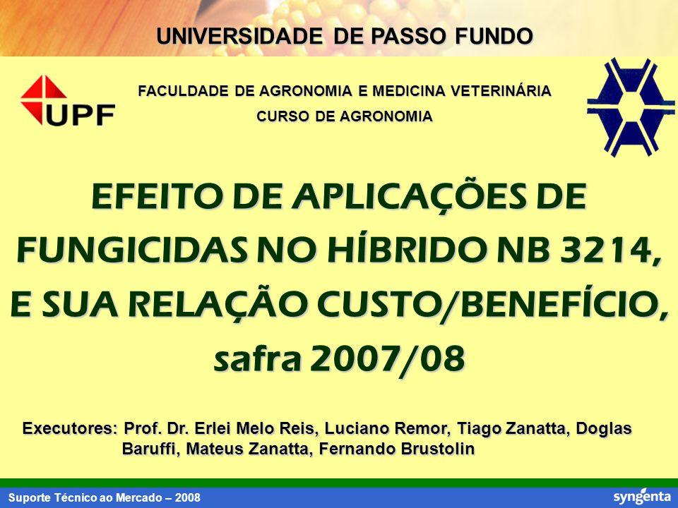 Suporte Técnico ao Mercado – 2008 UNIVERSIDADE DE PASSO FUNDO FACULDADE DE AGRONOMIA E MEDICINA VETERINÁRIA CURSO DE AGRONOMIA EFEITO DE APLICAÇÕES DE