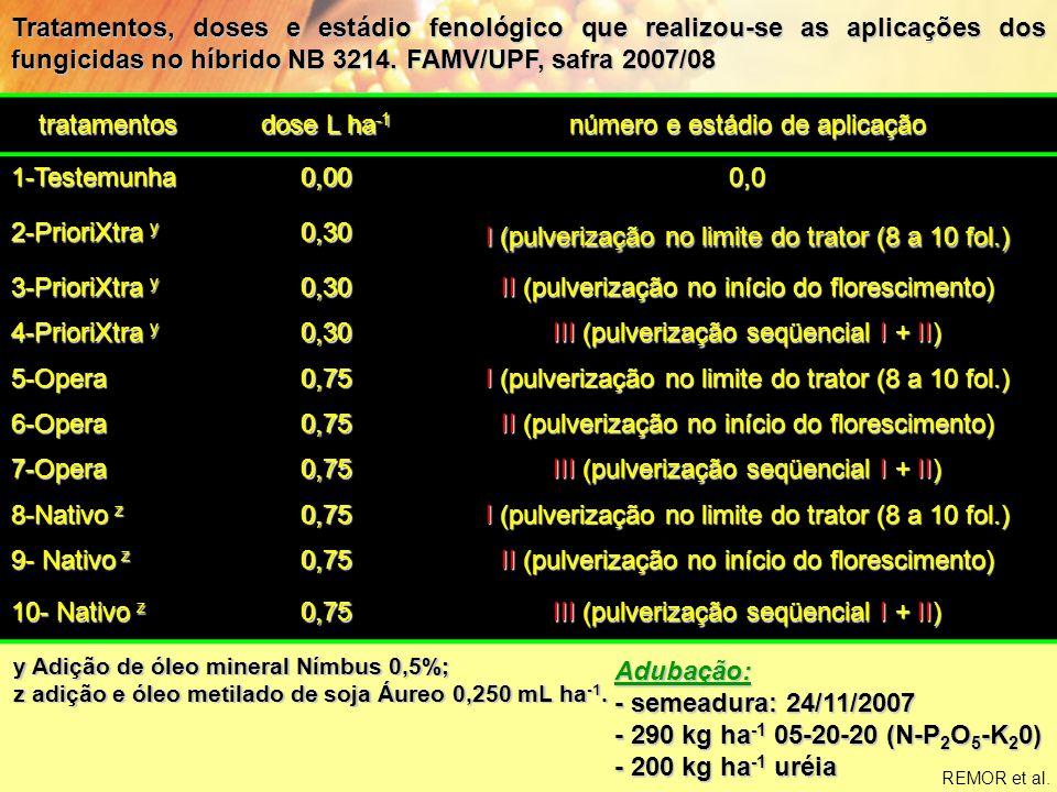 Suporte Técnico ao Mercado – 2008 Efeito da aplicação de diferentes fungicidas e estádio fenológicos no rendimento de grãos (kg ha -1 ) no híbrido NB 3214.