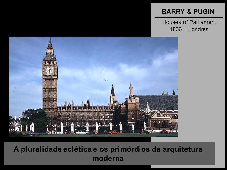 A pluralidade eclética e os primórdios da arquitetura moderna BARRY & PUGIN Houses of Parliament 1836 – Londres