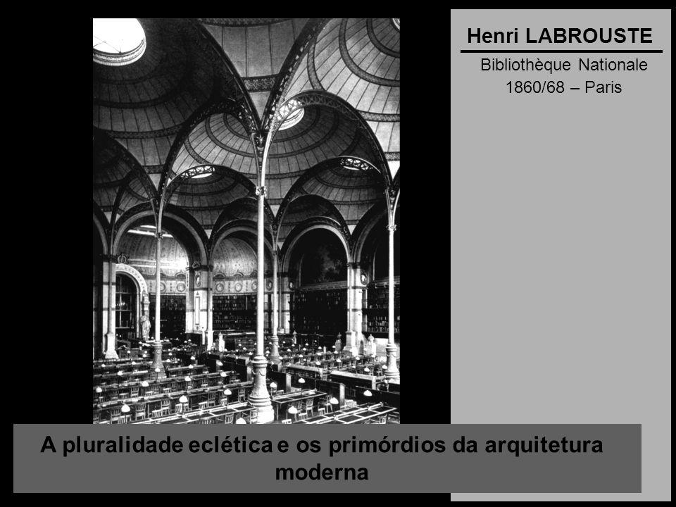 A pluralidade eclética e os primórdios da arquitetura moderna Henri LABROUSTE Bibliothèque Nationale 1860/68 – Paris