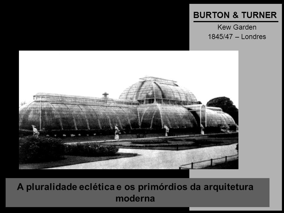 A pluralidade eclética e os primórdios da arquitetura moderna BURTON & TURNER Kew Garden 1845/47 – Londres