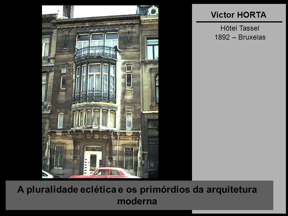 A pluralidade eclética e os primórdios da arquitetura moderna Victor HORTA Hôtel Tassel 1892 – Bruxelas