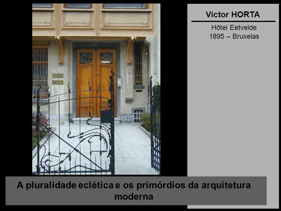 A pluralidade eclética e os primórdios da arquitetura moderna Victor HORTA Hôtel Eetvelde 1895 – Bruxelas