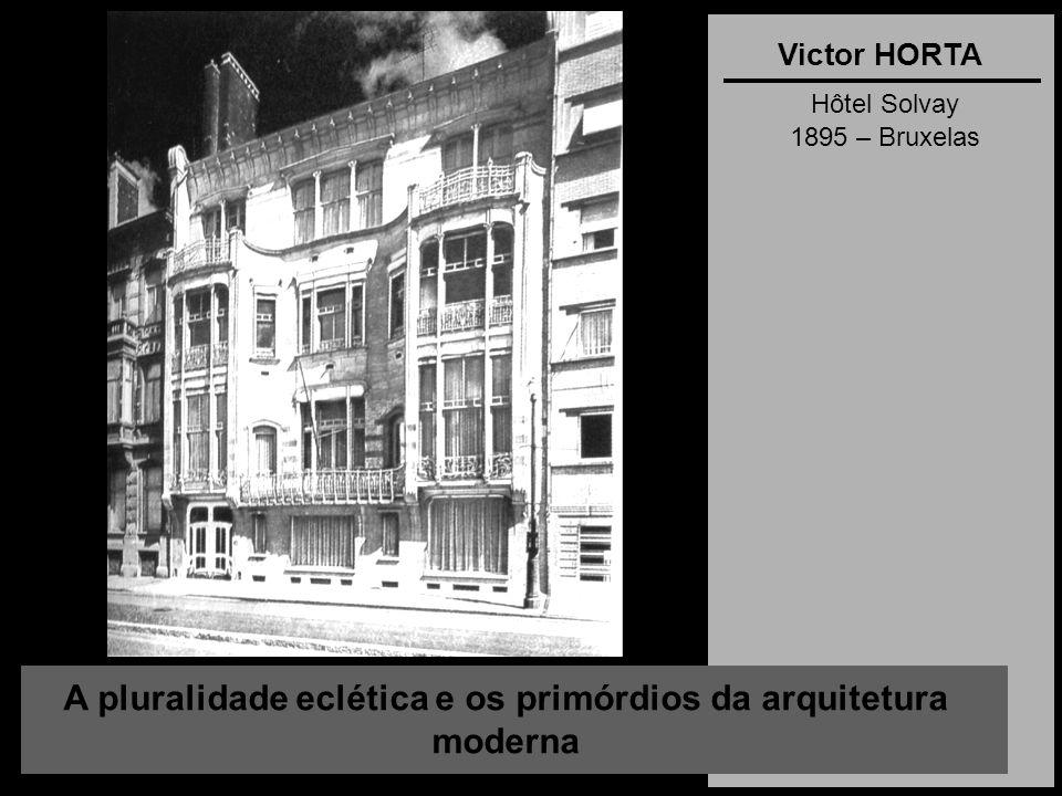 A pluralidade eclética e os primórdios da arquitetura moderna Victor HORTA Hôtel Solvay 1895 – Bruxelas