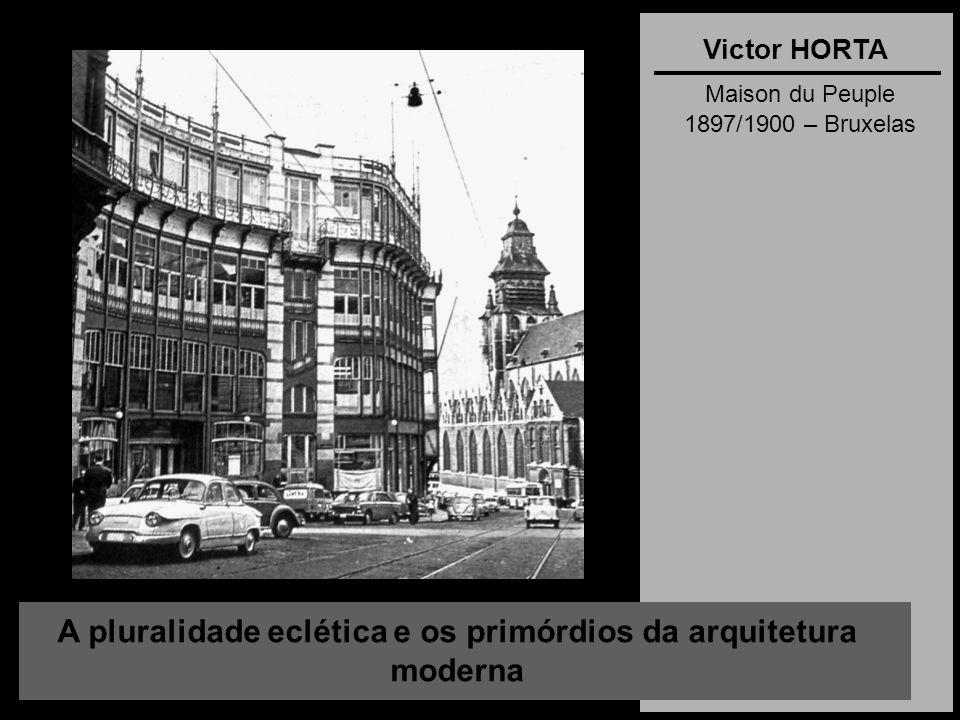 A pluralidade eclética e os primórdios da arquitetura moderna Victor HORTA Maison du Peuple 1897/1900 – Bruxelas