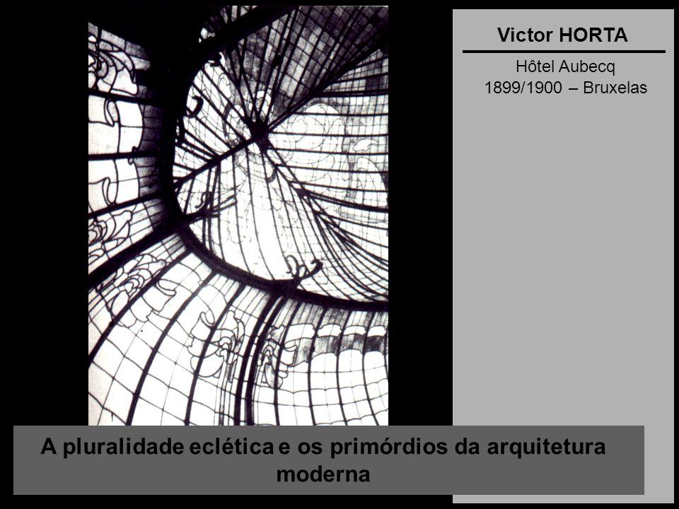 A pluralidade eclética e os primórdios da arquitetura moderna Victor HORTA Hôtel Aubecq 1899/1900 – Bruxelas