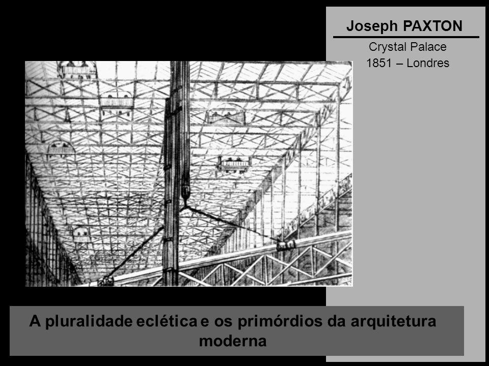 A pluralidade eclética e os primórdios da arquitetura moderna Joseph PAXTON Crystal Palace 1851 – Londres