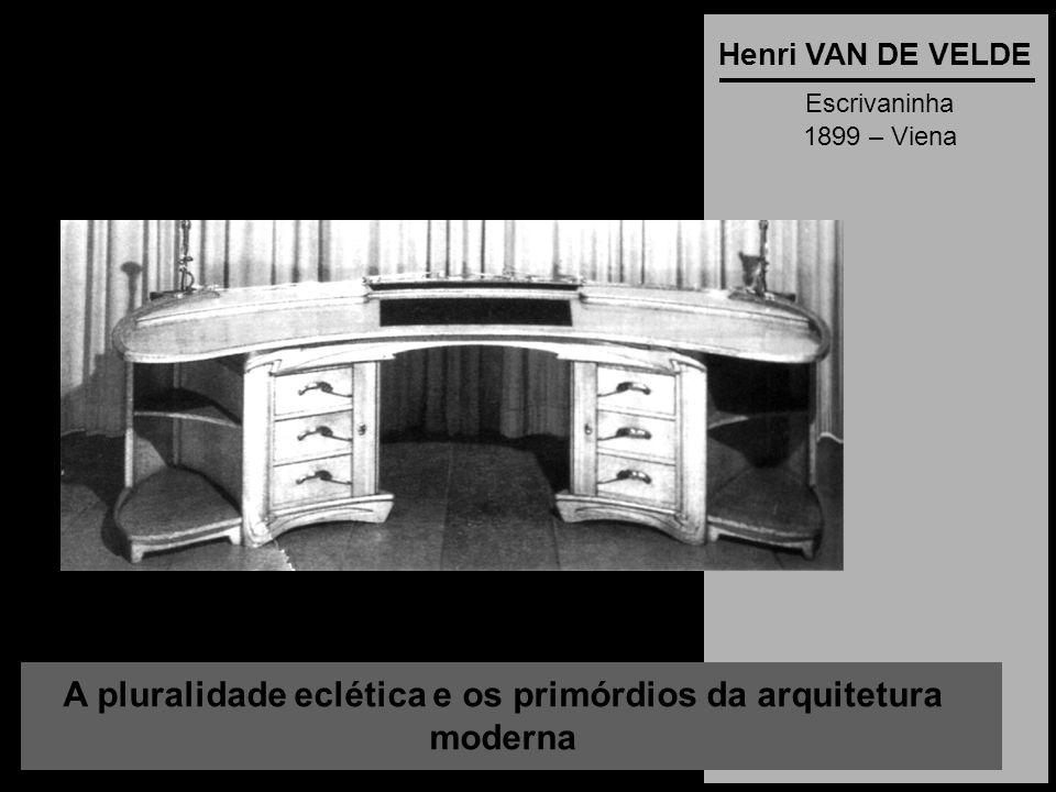 A pluralidade eclética e os primórdios da arquitetura moderna Henri VAN DE VELDE Escrivaninha 1899 – Viena
