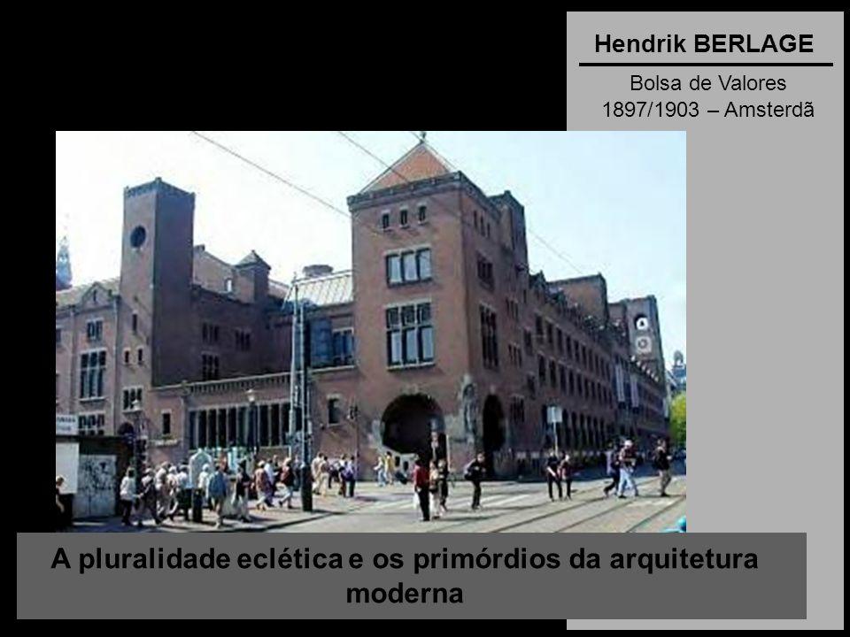 A pluralidade eclética e os primórdios da arquitetura moderna Hendrik BERLAGE Bolsa de Valores 1897/1903 – Amsterdã