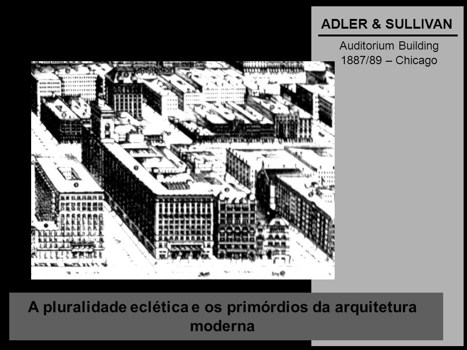 A pluralidade eclética e os primórdios da arquitetura moderna ADLER & SULLIVAN Auditorium Building 1887/89 – Chicago