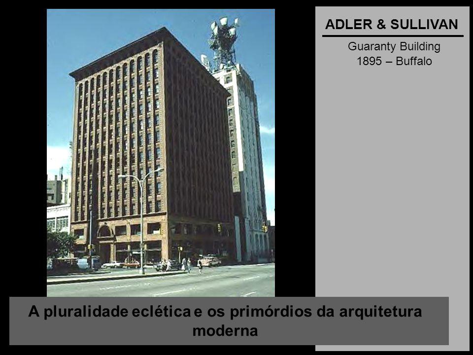 A pluralidade eclética e os primórdios da arquitetura moderna ADLER & SULLIVAN Guaranty Building 1895 – Buffalo