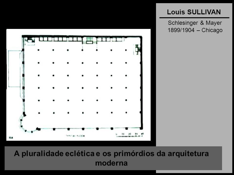 A pluralidade eclética e os primórdios da arquitetura moderna Louis SULLIVAN Schlesinger & Mayer 1899/1904 – Chicago