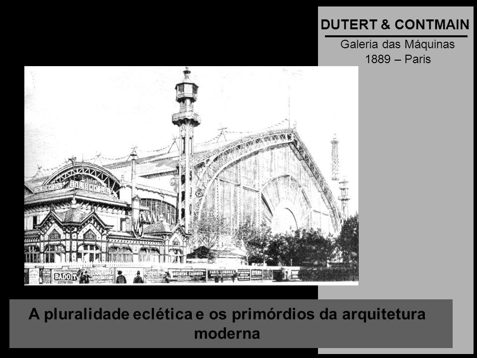 A pluralidade eclética e os primórdios da arquitetura moderna DUTERT & CONTMAIN Galeria das Máquinas 1889 – Paris