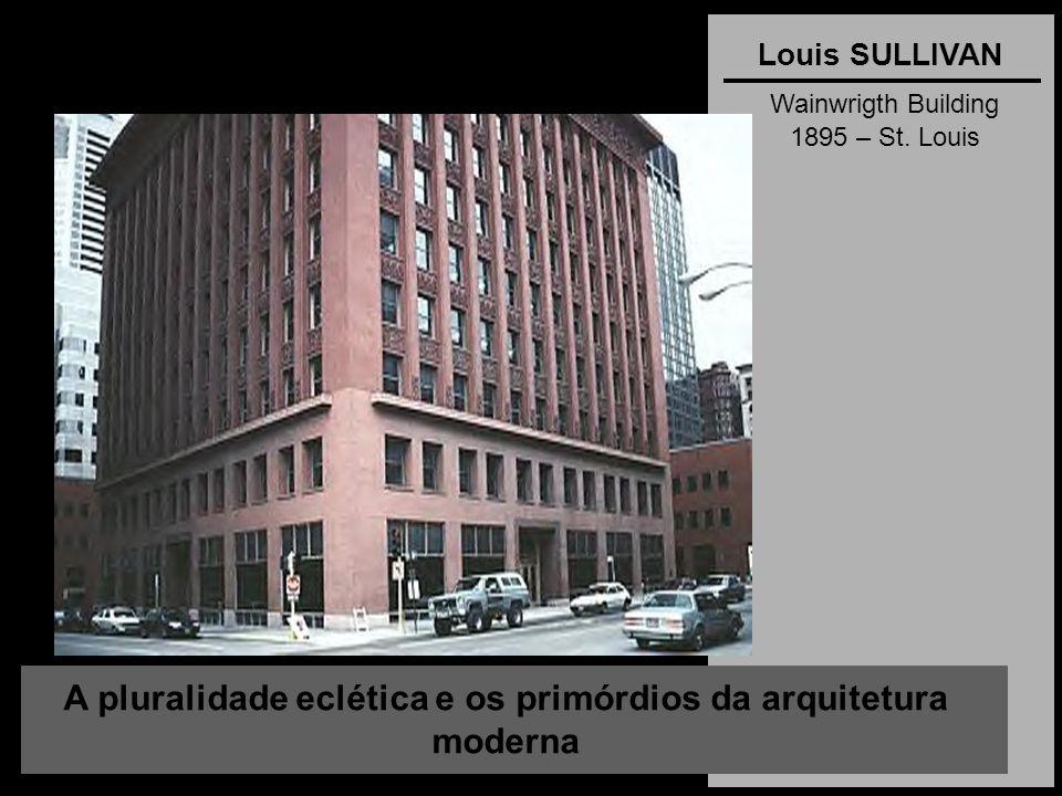 A pluralidade eclética e os primórdios da arquitetura moderna Louis SULLIVAN Wainwrigth Building 1895 – St. Louis