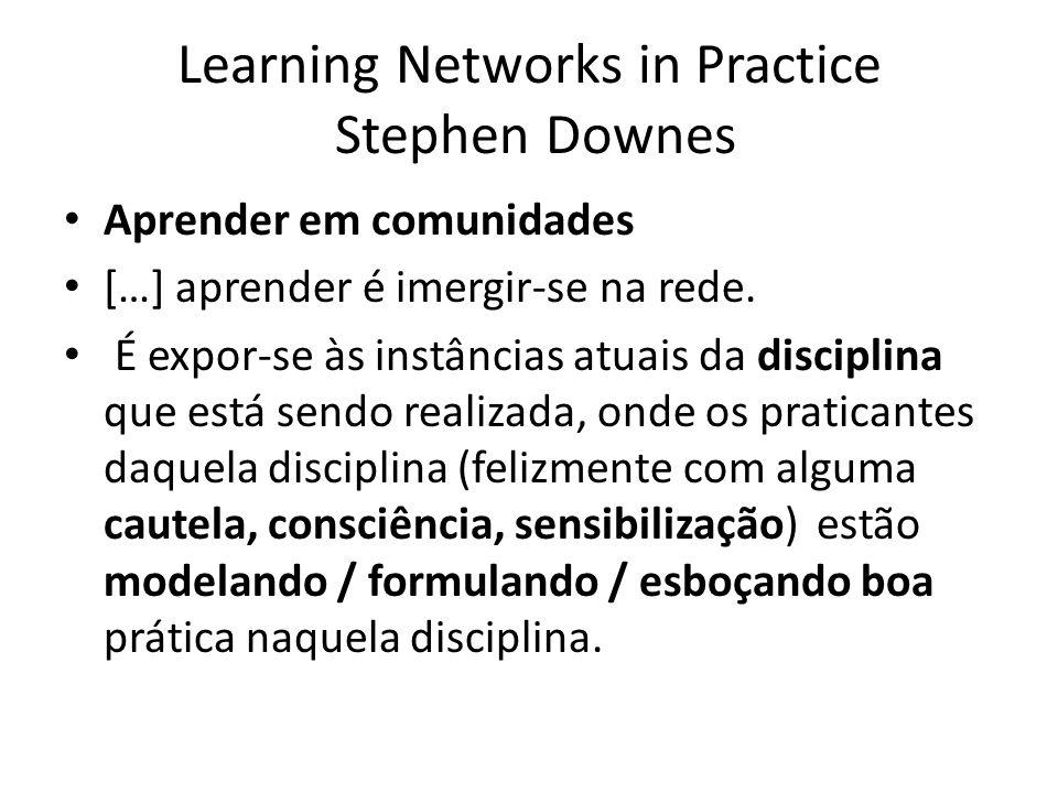 Participação, Conversa, Interconexão Aprendizagem, em outras palavras, ocorre em comunidades, onde a prática da aprendizagem é a participação na comunidade.