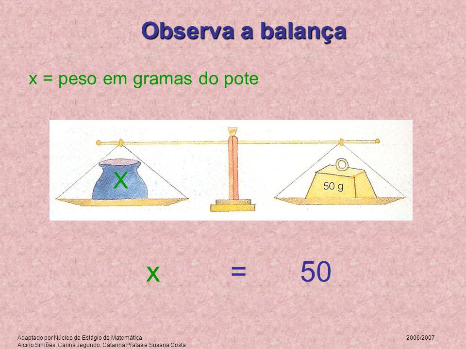Observa a balança x = peso em gramas do pote =x50 X Adaptado por Núcleo de Estágio de Matemática 2006/2007 Alcino Simões, Carina Jegundo, Catarina Pra