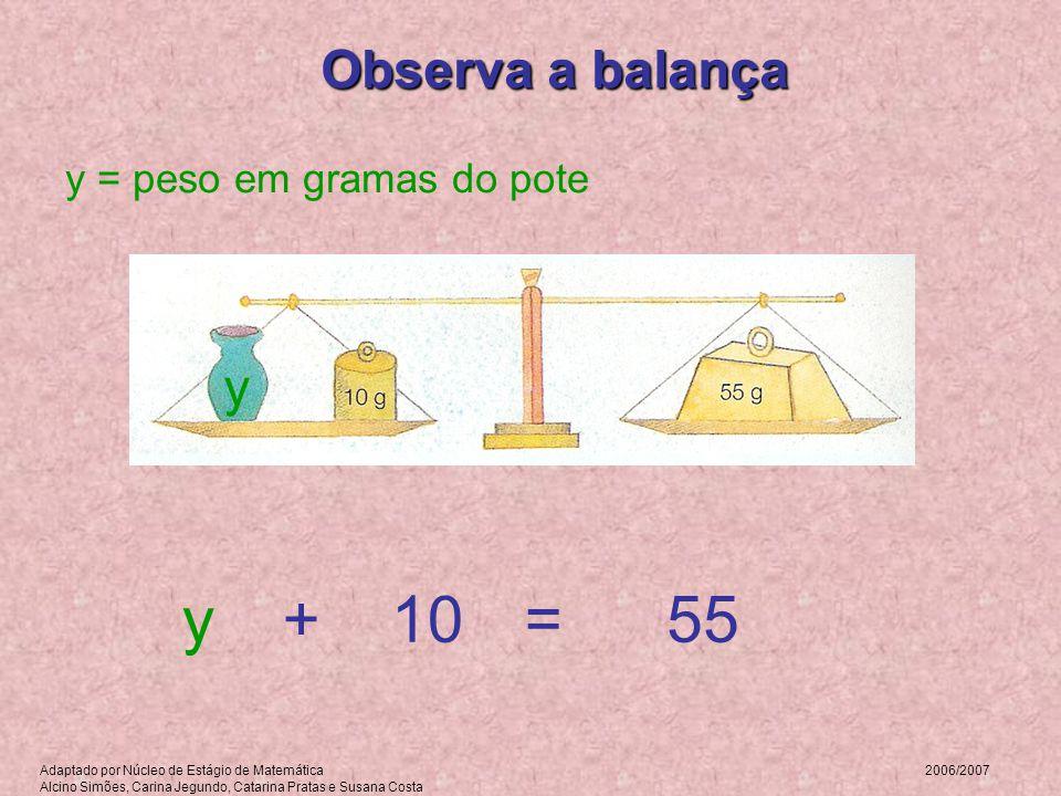 Observa a balança y = peso em gramas do pote y =+55y10 Adaptado por Núcleo de Estágio de Matemática 2006/2007 Alcino Simões, Carina Jegundo, Catarina