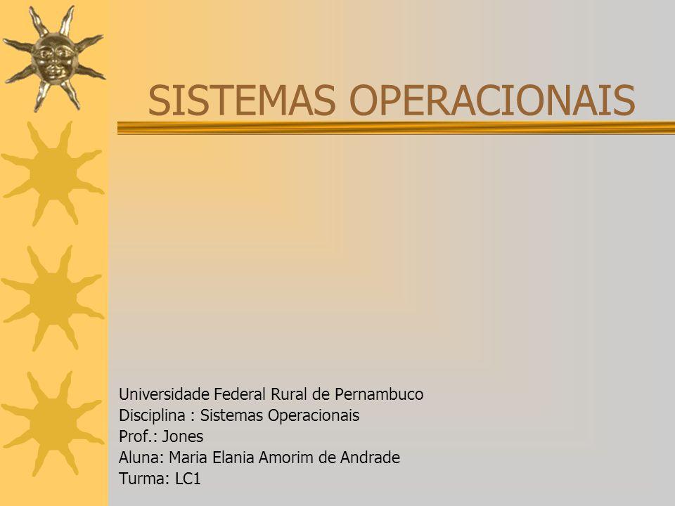 SISTEMAS OPERACIONAIS Universidade Federal Rural de Pernambuco Disciplina : Sistemas Operacionais Prof.: Jones Aluna: Maria Elania Amorim de Andrade T