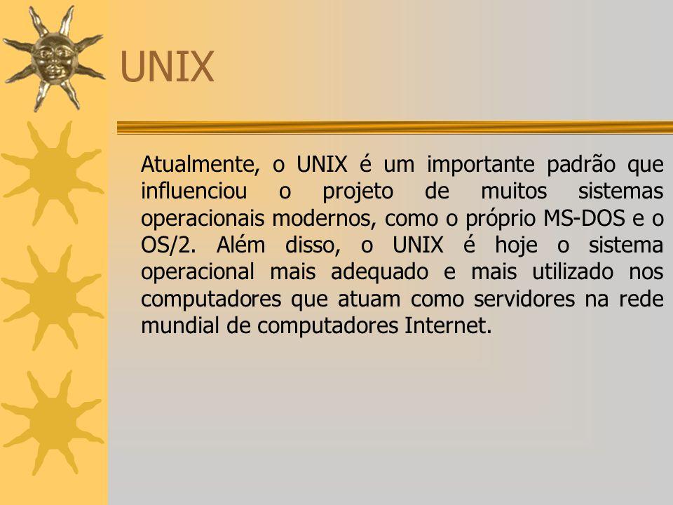 UNIX Atualmente, o UNIX é um importante padrão que influenciou o projeto de muitos sistemas operacionais modernos, como o próprio MS-DOS e o OS/2. Alé