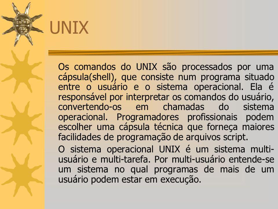 UNIX Os comandos do UNIX são processados por uma cápsula(shell), que consiste num programa situado entre o usuário e o sistema operacional. Ela é resp