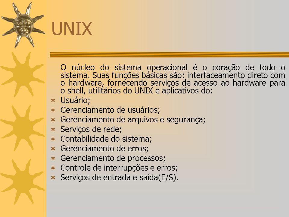 UNIX O núcleo do sistema operacional é o coração de todo o sistema. Suas funções básicas são: interfaceamento direto com o hardware, fornecendo serviç