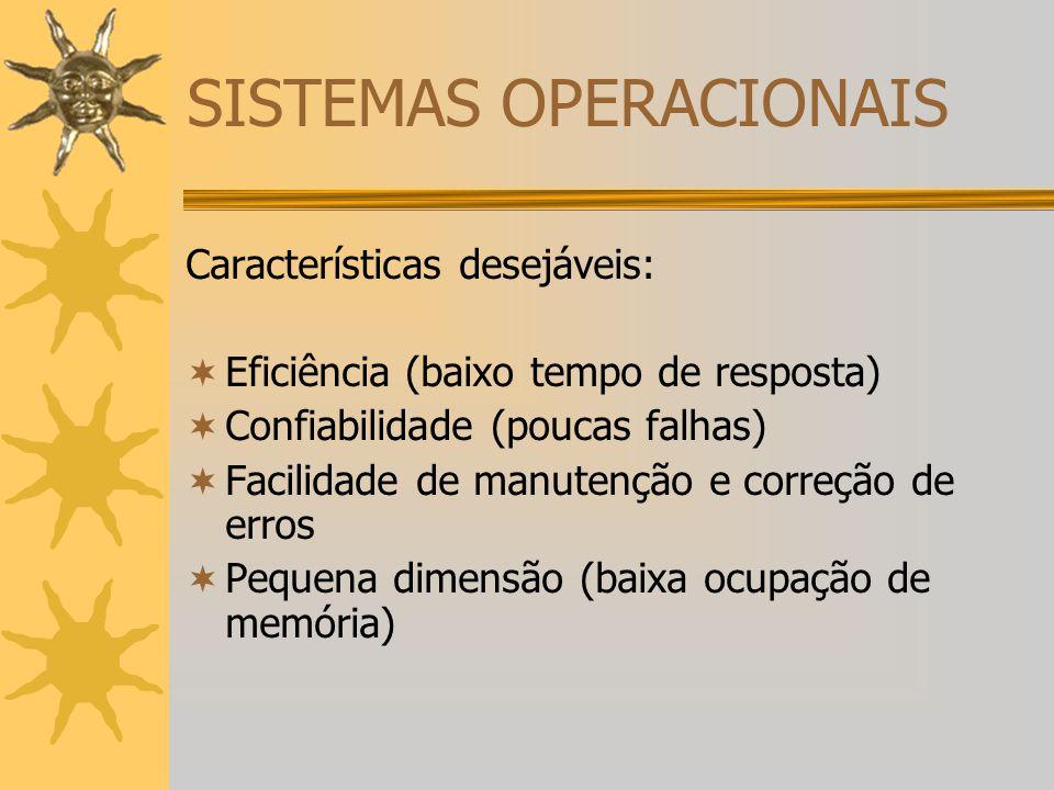 SISTEMAS OPERACIONAIS Características desejáveis:  Eficiência (baixo tempo de resposta)  Confiabilidade (poucas falhas)  Facilidade de manutenção e