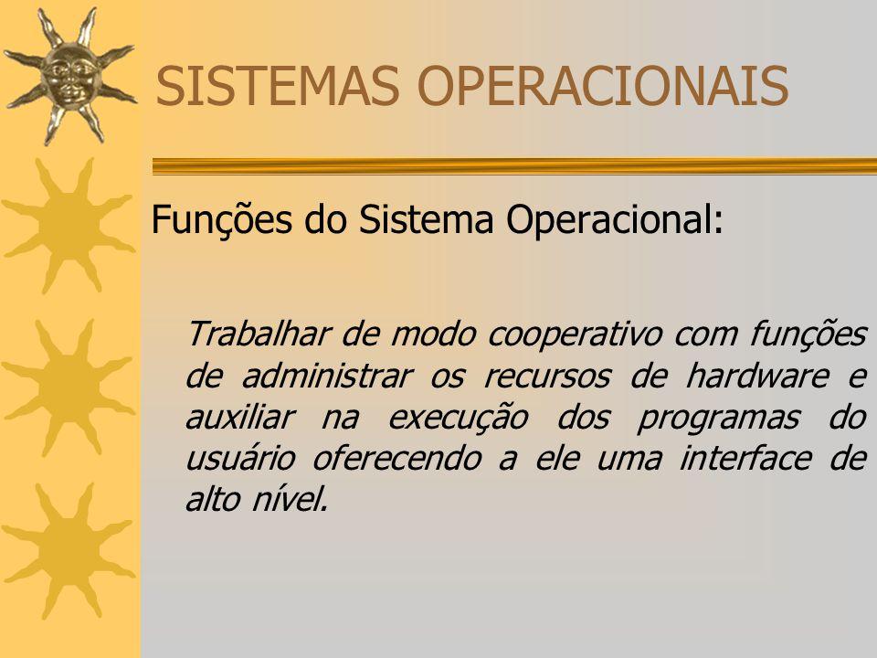 SISTEMAS OPERACIONAIS Funções do Sistema Operacional: Trabalhar de modo cooperativo com funções de administrar os recursos de hardware e auxiliar na e