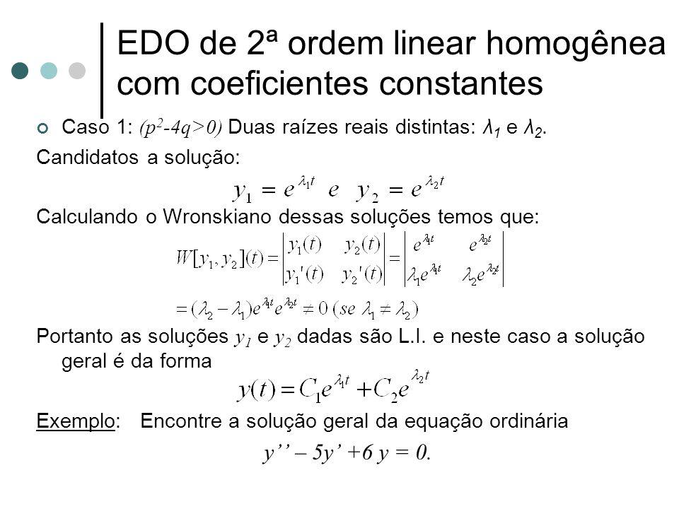 EDO de 2ª ordem linear homogênea com coeficientes constantes Caso 1: (p 2 -4q>0) Duas raízes reais distintas: λ 1 e λ 2. Candidatos a solução: Calcula