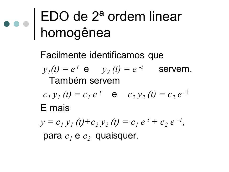 EDO de 2ª ordem linear homogênea Facilmente identificamos que y 1 (t) = e t e y 2 (t) = e -t servem. Também servem c 1 y 1 (t) = c 1 e t e c 2 y 2 (t)