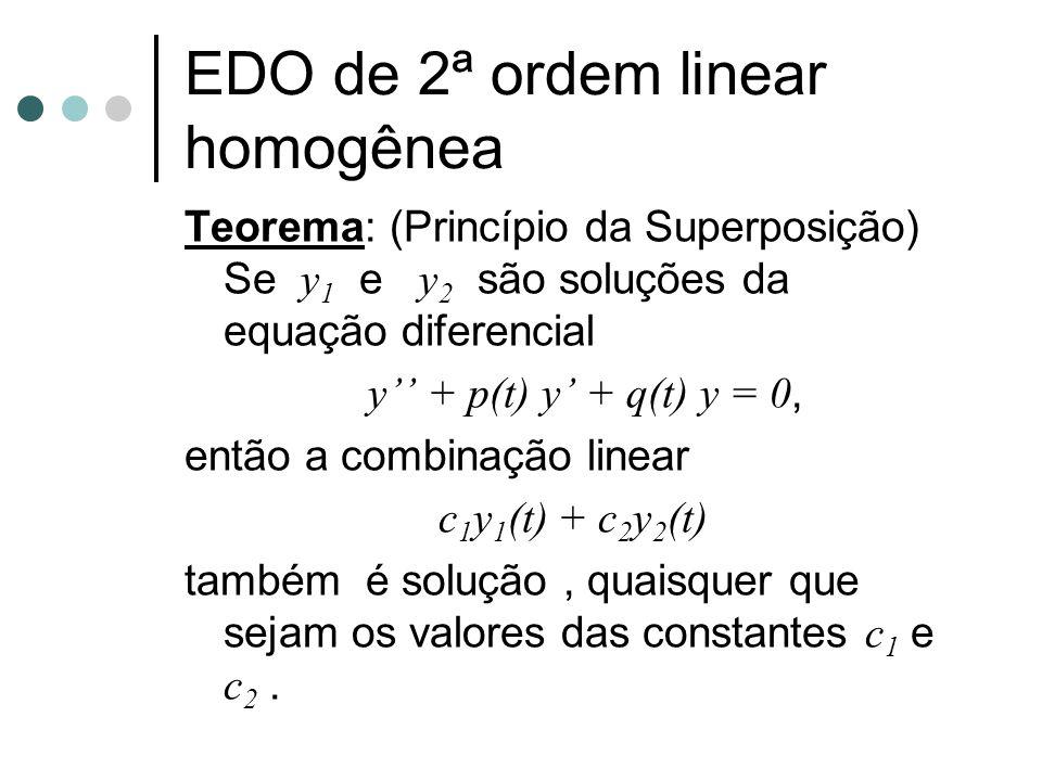 Teorema: (Princípio da Superposição) Se y 1 e y 2 são soluções da equação diferencial y'' + p(t) y' + q(t) y = 0, então a combinação linear c 1 y 1 (t