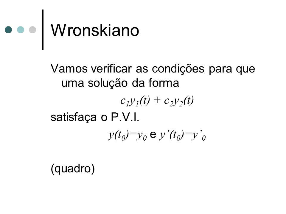 Wronskiano Vamos verificar as condições para que uma solução da forma c 1 y 1 (t) + c 2 y 2 (t) satisfaça o P.V.I. y(t 0 )=y 0 e y'(t 0 )=y' 0 (quadro